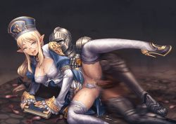 1boy 1girl absurdres armor artist_request blonde_hair blue_eyes blush book breasts bukkake censored cleavage cleavage_cutout cum cum_in_pussy cum_on_body cum_on_breasts cum_on_hair cum_on_lower_body cum_on_upper_body elf facial full_armor glasses hat helmet hetero highres knight long_hair long_sleeves lying mitre nail_polish on_side open_mouth original panties panties_aside penis pointy_ears puffy_sleeves pussy saliva sex smile solo_focus spread_legs sweat thighhighs tongue tongue_out underwear vaginal white_legwear white_panties