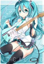 1girl 39 aqua_eyes aqua_hair character_name copyright_name detached_sleeves electric_guitar guitar hatsune_miku highres instrument long_hair necktie panties plectrum skirt smile solo striped striped_panties thighhighs twintails underwear very_long_hair vocaloid yoaferia