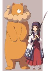 1girl :o amayadori_machi bear black_hair brown_eyes headband japanese_clothes kim_bae-eo kumamiko long_hair natsu_(kumamiko) polearm rope shimenawa spear tabi twintails weapon