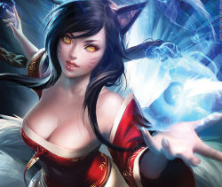 1girl ahri animal_ears artist_request bare_shoulders black_hair breasts cleavage detached_sleeves energy_ball fox_tail hair_ribbon kitsunemimi league_of_legends long_hair ribbon skirt smile solo tail yellow_eyes