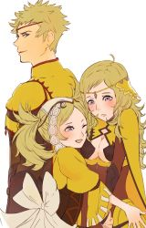 1boy 2girls artist_request blonde_hair blue_eyes breasts father_and_daughter female fire_emblem fire_emblem:_kakusei fire_emblem_if liz_(fire_emblem) long_hair multiple_girls nintendo odin_(fire_emblem_if) open_mouth ophelia_(fire_emblem_if) short_hair smile