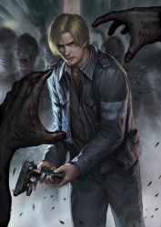 1boy blonde_hair capcom gun jacket leon_s_kennedy male_focus resident_evil resident_evil_6 solo weapon zombie