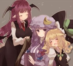 3girls :o bat_wings blanket blonde_hair blush book bow braid breasts covering_with_blanket crescent drooling eyes_closed grey_background hair_bow hair_ornament hat hat_removed head_wings headwear_removed highres kirisame_marisa koakuma large_breasts long_hair long_sleeves mob_cap multiple_girls musical_note necktie open_mouth patchouli_knowledge pointy_ears puffy_sleeves purple_eyes purple_hair quaver red_hair shirt side_braid single_braid skirt skirt_set sleeveless smile touhou upper_body usamata vest wings