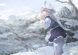 1girl apron bare_tree blue_dress blue_sky breath cliff cloud day dress forest from_side hat ichiba_youichi lake lavender_eyes lavender_hair letty_whiterock long_sleeves mountain nature pants scarf scenery see-through shirt short_hair shouting sky sleeveless sleeveless_dress smile snow solo standing touhou tree waist_apron white_pants white_shirt