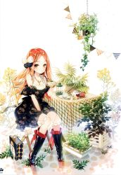 1girl absurdres boots brown_eyes brown_hair chair cherrypin dress highres plant potted_plant sitting table tagme