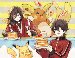 2boys ;d alola_form alolan_raichu black_hair blue_eyes drooling eyes_closed food fork fruit hair_ribbon horikawa_kunihiro izumi-no-kami_kanesada jacket japanese_clothes kantarou_(8kan) male_focus multiple_boys one_eye_closed open_mouth pancake pikachu plate pokemon pokemon_(creature) pokemon_(game) pokemon_sm raichu ribbon smile stack_of_pancakes strawberry touken_ranbu track_jacket