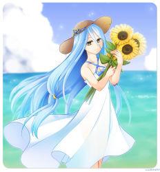 1girl aqua_(fire_emblem_if) artist_request blue_hair breasts dancer dress fire_emblem fire_emblem_if flower nintendo sea sky yellow_eyes