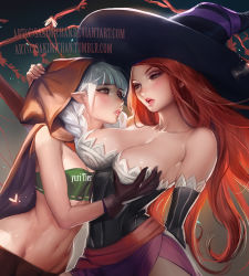 2girls breast_grab breasts cleavage dragon's_crown elf elf_(dragon's_crown) large_breasts long_hair red_hair sakimichan silver_hair sorceress_(dragon's_crown) witch yuri
