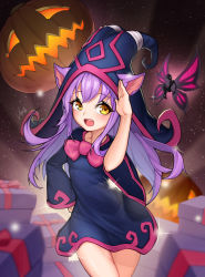 1girl :d absurdres alternate_costume alternate_skin_color animal_ears black_hat cat_ears fairy gift hand_on_hip hat highres jack-o'-lantern league_of_legends lee-seok_ho long_hair looking_at_viewer lulu_(league_of_legends) open_mouth pix purple_hair signature smile solo standing wicked_lulu wide_sleeves yellow_eyes yordle
