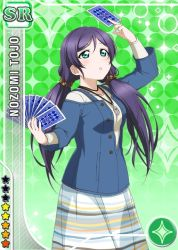 1girl :o aqua_eyes arm_over_head arm_up bangs blue_shirt buttons card card_(medium) character_name diamond_(shape) dress gradient gradient_background green_background hair_between_eyes holding holding_card jewelry layered_clothing long_hair long_sleeves looking_up love_live!_school_idol_festival love_live!_school_idol_project low_twintails necklace official_art parted_bangs purple_hair scrunchie shirt solo sparkle standing star striped striped_dress tarot toujou_nozomi twintails
