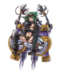 1girl :d animal_ears bad_anatomy belt collar fang flat_chest goggles goggles_on_head green_hair gremlin_(monster_girl_encyclopedia) hand_on_own_cheek holding looking_at_viewer machinery mechanical_arms monster_girl_encyclopedia navel open_clothes open_mouth orange_eyes rocknroll short_hair simple_background sitting smile solo source_request spread_legs white_background