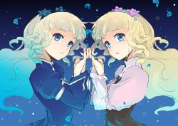 2girls blonde_hair blue_eyes braid breasts dress dual_persona flower hairband long_hair looking_at_viewer multicolored_hair multiple_girls open_mouth rose shirley_fennes tales_of_(series) tales_of_legendia tears water