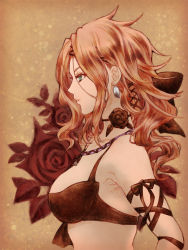 1girl aq_interactive bare_shoulders bra breasts brown_background brown_hair earrings flower green_eyes jewelry long_hair mistwalker necklace nintendo ribbon seiren_(the_last_story) the_last_story underwear