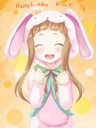 1girl animal_costume brown_hair eyes_closed happy_birthday ichihara_nina idolmaster idolmaster_cinderella_girls long_hair open_mouth satou_kaede_(maple_woods) smile solo