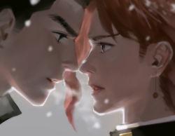 2boys black_hair emg_(christain) green_eyes jojo_no_kimyou_na_bouken kakyouin_noriaki kuujou_joutarou multiple_boys profile red_hair snowing