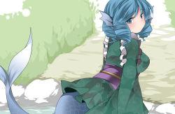 1girl animal_ears blue_eyes blue_hair blush hammer_(sunset_beach) head_fins japanese_clothes kimono long_sleeves looking_at_viewer mermaid monster_girl obi sash short_hair solo touhou wakasagihime