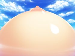 1girl areolae artist_request blue_sky breasts character_request cloud cloudy_sky day game_cg head_out_of_frame nipples outdoors puffy_nipples shiny shiny_skin sky solo zettai_saikyou_oppai_sensou!!