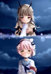 2girls absurdres ahoge armband artist_name blurry breasts brown_eyes brown_hair closed_mouth cloud crying crying_with_eyes_open depth_of_field dragon_horns eyebrows_visible_through_hair female female_pov genderswap genderswap_(mtf) hairband hand_holding highres horns la_pucelle_(mahoiku) lens_flare light_particles long_sleeves looking_at_viewer magical_girl mahou_shoujo_ikusei_keikaku medium_breasts multiple_girls neckerchief night outdoors parted_lips pink_hair pov sailor_collar school_uniform shirt short_hair sky smile snow_white_(mahoiku) tears uniform upper_body white_shirt wind yellow_eyes yunare