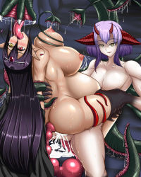 1boy 1girl ahegao anal anal_insertion arm_grab arm_held_back arms_behind_back ass backboob black_hair breast_grab breasts breasts_outside cowgirl_position cum cum_in_pussy double elf fucked_silly girl_on_top hair_tubes heterochromia huge_ass huge_breasts inflation lactation large_breasts long_hair monster nipple nude open_mouth penetration pointy_ears pregnant purple_hair pussy_juice quest_(artist) rape red_eyes rolling_eyes sex spread_legs stomach_bulge sweat tail tear tentacle tongue tongue_out yellow_eyes