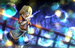 1girl blonde_hair bridge cave dutch_angle frown grass green_eyes hitodama iroen_(kurohimekou) layered_dress light_particles long_sleeves looking_at_viewer mizuhashi_parsee pointy_ears ponytail raised_hand scarf short_hair solo standing touhou