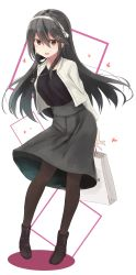 1girl absurdres anchor arms_behind_back bag bangs black_legwear boots bow brown_eyes contrapposto full_body grey_hair grey_skirt hair_between_eyes hair_bow hair_ornament hairband hairclip haruna_(kantai_collection) heart highres holding_bag jacket jewelry kantai_collection long_hair long_sleeves looking_at_viewer mitsukoshi_(department_store) necklace open_mouth pantyhose paper_bag round_teeth shopping_bag skirt solo standing teeth yuki_(yukin0128)