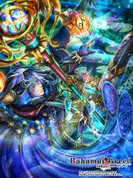1girl bahamut_greed blue_eyes blue_hair crotalaria hood short_hair solo staff thighhighs