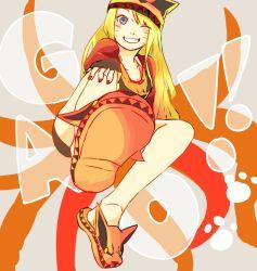 1girl blonde_hair blue_eyes genderswap grin hat legs long_hair looking_at_viewer nail_polish naruko naruto naruto_shippuuden o96ap red_nails smile solo uzumaki_naruto wink