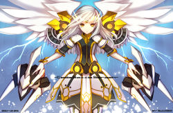 1girl 2014 artist_name blue_background dated dress elsword eve_(elsword) gloves highres long_hair mecha_musume solo swd3e2 white_hair white_wings wings yellow_eyes