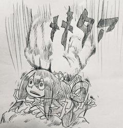 /\/\/\ 1girl asui_tsuyu bodysuit boku_no_hero_academia eyelashes frog_girl gloves hair_rings imai_kitoke jojo_no_kimyou_na_bouken long_hair low-tied_long_hair open_mouth parody photo traditional_media webbed_feet