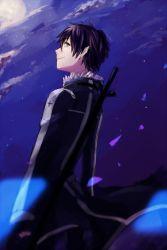1boy black_eyes black_hair highres kirito kirito_(sao-alo) moon pointy_ears saree_m short_hair sword_art_online