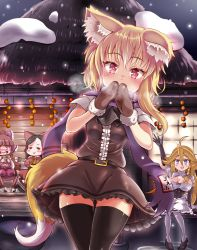 :d ahoge animal_ears apron arm_up ascot bangs belt black_gloves black_legwear black_shoes blonde_hair blue_eyes blunt_bangs blush bow braid breasts breath brown_eyes brown_hair brown_shirt brown_skirt buttons cleavage commentary_request cookie_(touhou) crying cup detached_sleeves drinking elbow_gloves eyebrows_visible_through_hair eyes_closed fish fox_ears fox_tail frilled_skirt frills gloves hair_between_eyes hair_bow hands_up highres holding holding_cup large_breasts long_hair long_sleeves looking_at_viewer miramikaru_riran mittens multiple_persona nose_blush open_mouth original own_hands_together parted_bangs puffy_short_sleeves puffy_sleeves purple_bow purple_scarf red_bow red_eyes rurima_(cookie) scarf seiza shiromiya_rei_(cookie) shirt shoes short_sleeves side_braid single_braid sitting skirt skirt_set small_breasts smile snow snowing star tail tears thigh_gap thighhighs touhou waist_apron white_apron white_legwear yarumi_(suina) yunomi zettai_ryouiki