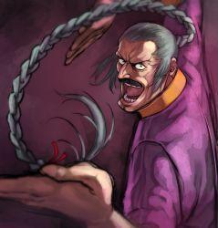 1boy braid facial_hair fighting_stance g_gundam garakuta gundam highres male_focus master_asia mustache solo