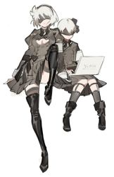 1boy 1girl black_boots black_dress black_hairband blindfold boots commentary_request computer covered_eyes dress hairband juliet_sleeves laptop long_sleeves mole mole_under_mouth nier_(series) nier_automata puffy_sleeves short_hair silver_hair starshadowmagician yorha_no._2_type_b yorha_no._9_type_s