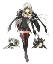 1girl artist_request black_boots boots ear_covers elsword eve_(elsword) expressionless forehead_jewel gloves long_hair mecha_musume miniskirt robot skirt solo standing thigh_boots thighhighs white_background white_hair yellow_eyes