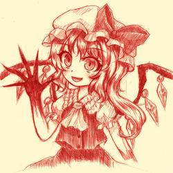 1girl ascot blush bow fang flandre_scarlet hat hat_bow monochrome side_ponytail solo touhou wings yuran_(kuen-hien)