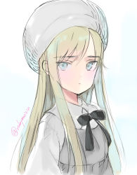 1girl bangs beret blonde_hair blouse blue_eyes closed_mouth dress expressionless eyebrows_visible_through_hair grey_dress hat highres long_hair looking_at_viewer mari_(rubymaririn) original simple_background sketch solo twitter_username upper_body white_background white_blouse