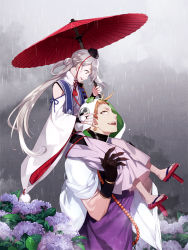 2boys armor black_gloves bridal_gauntlets carrying earrings fingernails flower frog geta gloves hood ima-no-tsurugi iwatooshi japanese_armor japanese_clothes jewelry long_fingernails long_hair male_focus multiple_boys no_socks open_mouth oriental_umbrella pom_pom_(clothes) sharp_teeth short_hair shoulder_carry sode stole tengu-geta touken_ranbu uhouho14 umbrella