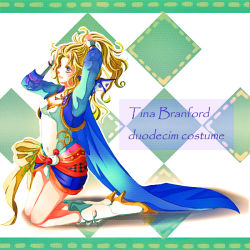 1girl alternate_costume blonde_hair blue_eyes bow breasts cape cleavage detached_sleeves dissidia_012_final_fantasy dissidia_final_fantasy dress earrings elbow_gloves final_fantasy final_fantasy_vi gloves green_hair hair_ribbon jewelry long_hair navel pantyhose ponytail ribbon solo strapless strapless_dress tina_branford
