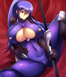 1girl akiyama_rinko arm_support blue_hair bodysuit breasts cleavage cleavage_cutout closed_mouth covered_navel curvy haganef hair_between_eyes holding holding_sword holding_weapon huge_breasts katana knee_pads long_hair ponytail purple_eyes sheath sheathed sitting skin_tight smile solo spread_legs sword taimanin_(series) taimanin_suit taimanin_yukikaze tsurime very_long_hair weapon wrist_guards