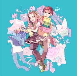 1boy 1girl bowtie box brown_hair digimon digimon_adventure dress gift gift_box hairband high_heels huan_li izumi_koushirou long_hair pantyhose red_hair ribbon shoes shopping short_hair simple_background tachikawa_mimi thighhighs