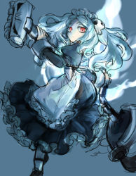 1girl apron bloody_marie_(skullgirls) blue_background blue_fire commentary_request fire hair_ornament holding looking_at_viewer maid maid_headdress mary_janes notoro red_eyes shoes silver_hair skull skullgirls solo teeth twintails vacuum_cleaner