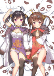 2girls ? absurdres ahoge bilan_hangxian blush breasts brown_hair china_dress chinese_clothes dress hand_holding headband highres jacket looking_at_viewer medium_breasts multiple_girls ning_hai_(bilan_hangxian) panties ping_hai_(bilan_hangxian) purple_eyes single_thighhigh striped striped_panties thighhighs twintails underwear