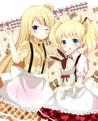 2girls :d ;) alice_cartelet alternate_costume apron argyle argyle_skirt bangs blonde_hair blue_eyes blush bolo_tie breasts brown_skirt buttons clenched_hand closed_mouth collared_shirt cowboy_shot diagonal_stripes eyebrows_visible_through_hair flower frilled_apron frills hair_bun hair_ornament hair_stick hairclip highres holding holding_stuffed_animal kin-iro_mosaic kujou_karen long_hair looking_at_viewer multiple_girls one_eye_closed open_mouth plaid puffy_short_sleeves puffy_sleeves purple_eyes red_skirt ryoutan shirt short_hair short_sleeves sidelocks skirt small_breasts smile striped striped_background stuffed_animal stuffed_bunny stuffed_toy suspenders teddy_bear twintails v waist_apron wavy_hair white_apron white_shirt x_hair_ornament yellow_shirt