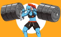 1girl abs barbell biceps blue_skin breasts cleavage eyepatch fins gills gym_shorts high_ponytail midriff monster_girl muscle navel red_hair sharp_teeth shorts smile solo sports_bra taikodon teeth toned undertale undyne weightlifting weights
