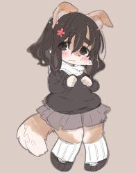 artist_request black_eyes black_hair dog furry long_hair school_uniform
