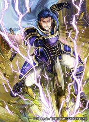 1boy armor artist_request axe blue_eyes blue_hair cape company_connection copyright_name fire_emblem fire_emblem:_rekka_no_ken fire_emblem_cipher gauntlets hector_(fire_emblem) holding holding_weapon pants short_hair solo weapon