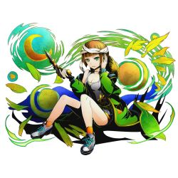 1girl bandage bangs blonde_hair blunt_bangs bob_cut breasts cleavage divine_gate full_body green_eyes green_jacket gun hand_on_ear hat hat_removed headwear_removed heterochromia jacket looking_at_viewer moon official_art orange_legwear paintbrush pantyhose parted_lips shoes shorts sitting sneakers socks solo star_(sky) sun_hat ucmm vincent_(divine_gate) weapon yellow_eyes