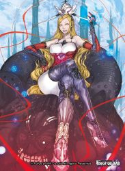 1girl blonde_hair boots bracelet breasts copyright_name crown earrings erect_nipples force_of_will full_body gloves high_heel_boots high_heels jewelry large_breasts long_hair official_art open_mouth sitting solo teeth yellow_eyes