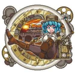 1girl alternate_costume arm_belt arm_up backpack bag blue_eyes blue_hair blush boots breasts bridge brown_boots choker cross-laced_footwear engineer gears gloves hair_bobbles hair_ornament hand_on_headwear hat jewelry kawashiro_nitori key key_necklace lace-up_boots long_sleeves looking_away mechanical_arm mizusuke open_mouth pantyhose pixel_art shirt short_hair sitting skirt smile solo steampunk sunset thigh_boots thighhighs top_hat touhou train twintails white_shirt