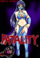 armband bare_shoulders black_hair blood blue_eyes boots breasts choker cleavage earrings female guro hairband hand_on_hip highres hips jewelry kitana loincloth long_hair mask midriff mileena mortal_kombat navel orange_eyes princess_kitana short_hair thighs weapon wristband